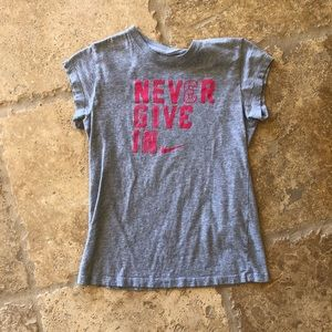 Nike Like New Never Give In Gray and Pink T-shirt